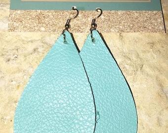 Genuine Leather Light Blue Earrings