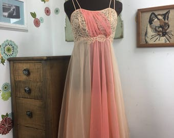 Vintage Peach Chiffon Lingerie, Two Tone Floaty Nightgown XS Sheer Nightie 1960s Vanity Fair Slip Coral Chiffon and Lace