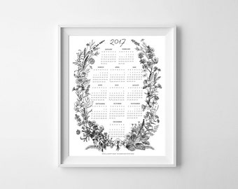 2017 Botanical Calendar illustration. 12 month calendar. Vintage Engravings Wall calendar. 1 Page.  8.5 x 11 letter size. New Year. Gift