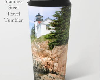 Lighthouse Travel Mug-Bass Harbor Tumbler-Stainless Steel Mug-Coffee Tumbler-Metal Mug-15 oz Tumbler-Maine Coffee Mug-Insulated Travel Mug