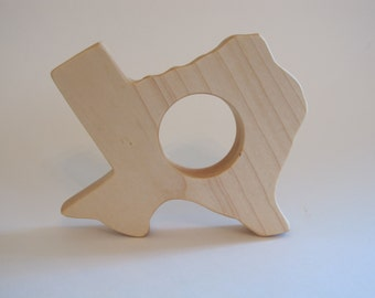 Wood Toy -  Texas State Teether - organic, safe and natural for baby
