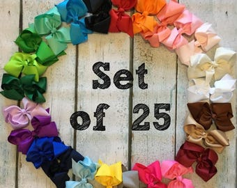 10% OFF!! 6-inch bows - Set of 25- Bow Clips, Alligator Clips, Girl Bows, Cheap Bows, Baby Bows, Dollar Bows, Little Girl Bows, Hair Bows