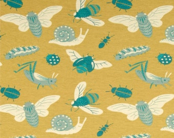Birch - KNIT - Organic - Acorn Trail - Bugs -  Teagan White - Gold - Teal - By the half yard and full yard