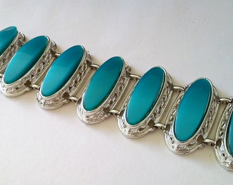 Vintage Estate Chunky Aqua Moonglow Thermoset Oval Cabs Silver Tone Metal Chain Link Statement Bracelet