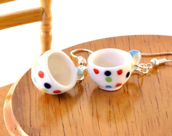Polka Dot Teacup Earrings - Gift for Tea Lover - Teacup Jewellery