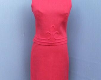 CLASSIC 1960s Suit,  I. Magnin, Linen Suit, Summer Suit, Two Pc. Suit, Sleeveless Suit, Coral