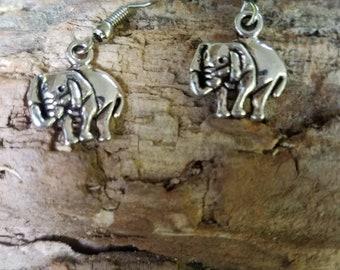 Silver Elephant Earrings / Trunk Up!