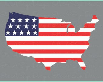USA Outline Flag 4th of July svg, Independence Day, Fourth of July, Summer Time svg, United States svg, USA Outline svg, USA svg Cut File