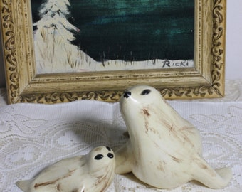 Arnel's White Ceramic Seal  Mom and Pup, Vintage Nautical Figurines, Alaska Art Statues, Mother's Day Gift