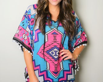 Southwestern Princess Tunic with Pompom, Beach Tunic, Aztec Print Tunic, Women's Cover ups, Tunic Dress, Boho Kimono Dress, Plus Size, boho