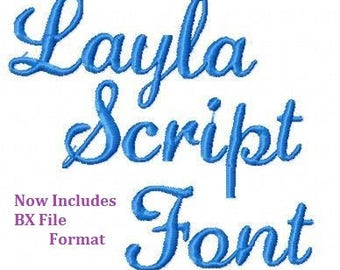 Machine Embroidery Design -Layla Script Font -Three Sizes-  + BX File Format -Instant Download