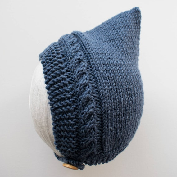 Cable Knit Pixie Hat in Denim Merino Wool - Size 3-6 months - Ready to Ship