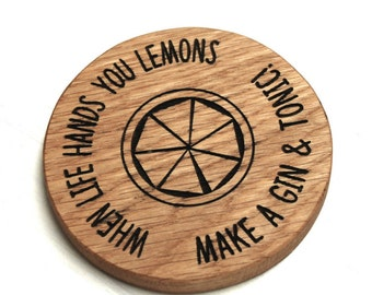 Gin and Tonic Oak Coaster - Gift For Her - Gin Gifts - Wooden Coasters - Drink Coasters - Personalised Gifts - Gift For Best Friend