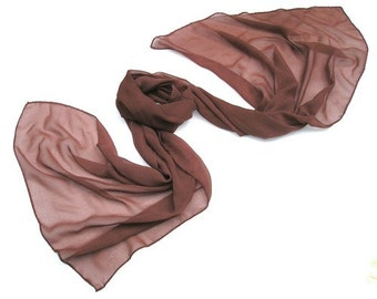 Unique Brown Auburn Adobe Shawl Wrap Rust Coverup Scarf, Hand Dyed Marsala Sheer Silk Chiffon 8mm Coverup Shawl, Handmade, Artinsilk
