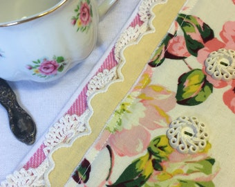 Too Sweet Hand Embellished Shabby Chic Tea Towel