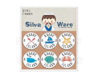 Rhode Island Nautical Set of Six Refrigerator Magnets - The Ocean State Souvenir Gifts - Oars, Sailboat, Starfish, Whale SeaShell Crab Pins