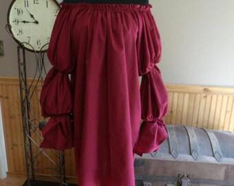 Pirate Wench Gypsy Renaissance Blouse Tunic Chemise Costume Burgundy