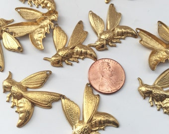 Set of 5 Raw Brass Bee Stampings
