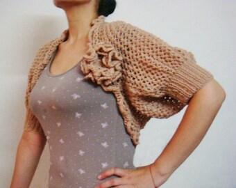 Lace Shrug Knitting Pattern Knit Bolero with Knit Flower Pin Brooch Pattern Wedding Knit Wrap