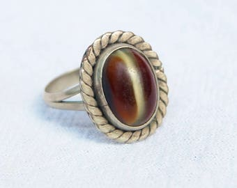 Vintage Mexican Ring Amber Art Glass and Alpaca Oval Boho Jewelry Size 6 .75 Western Honey