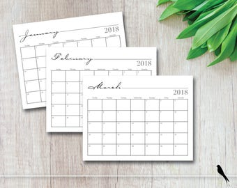 Whimsical Printable 2018 Calendar - Home, Office or Classroom 12 Month Wall Calendar, Organzing, Appointment Planner - Instand Download