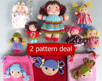 Jenny, Jolly Dollies and Bags - doll knitting patterns - INSTANT DOWNLOAD