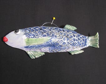 ceramic fish, tropical fish,pottery fish, colorful glazed fish, clay fish art, outdoor decoration, handmade blue and green fish, funny fish,