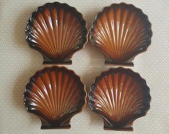 VINATAGE SHELL 4 x Ceramic Ramekins, Clam, Ovenproof, Made in Japan, Brown Gloss, Soap dish, trinkets, dessert bowls, retro, prop, ombre