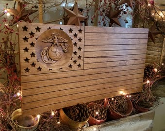 US Marine Corps 3D Flag with vintage finish