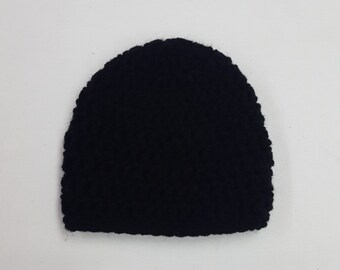 Basic Crochet Black Newborn Hat Photo Prop Girl Boy Baby Infant Toddler Made to Order
