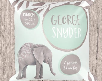 Elephant pillow, Birth certificate pillow, Personalized baby pillow, personalized baby gift, pillow for baby, baby gifts, custom pillow