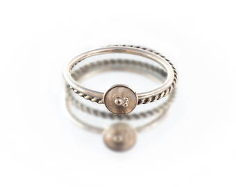 Stacking Ring -- Granulated Silver