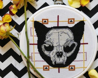 Cat Skull  Cross Stitch Pattern PDF - Modern Cross Stitch Sampler - Instant Download