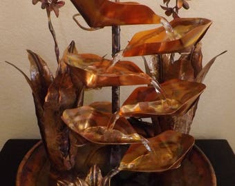 Indoor fountain etsy agave plant cactus large size copper water table fountain workwithnaturefo