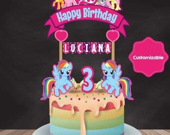 My Little Pony Cake Topper, My Little Pony Birthday, My Little Pony Party, My Little Pony Banner,  Printable Cabe Topper, Custom Cake Topper