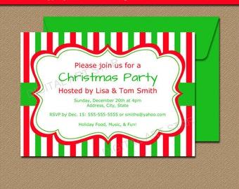 Christmas Invitation Template - EDITABLE Xmas Invitations Cute Holiday Invites - Digital Christmas Invitation - Printable Invites CSV