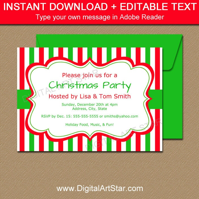 Christmas Invitation Template Editable Xmas Invitations Cute