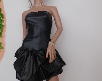Leather party dress in blue and black, made of artificial leather with elastane
