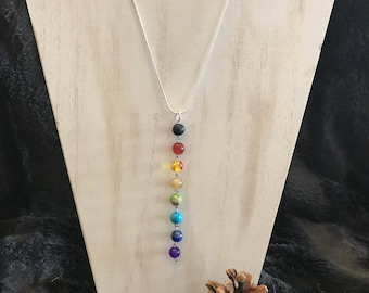 Chakra necklace made with lava stones