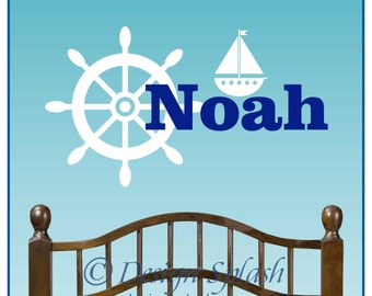 Personalized Boy's Nautical Room Vinyl Wall Decals with Name, Helm, Sailboat NM-122