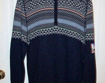 Vintage Unisex Blue & Gray Pullover Ski Sweater by Izod Large Only 7 USD