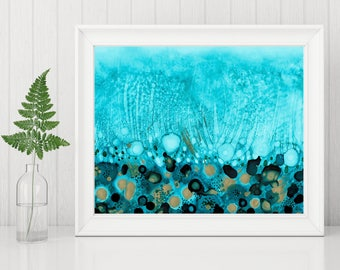 Turquoise Art Print, Abstract Printable, Alcohol Ink Print, Abstract Painting Print, 8x10 Print, 8 x 10 Printable, Coastal Home Decor, Ocean