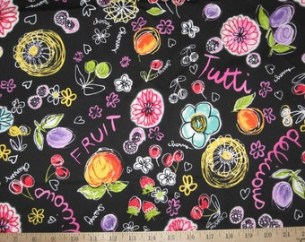 Fruit print black twill fabric 1 yard