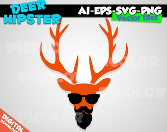 Orange Deer Hipster Silhouette SVG EPS PNG Instant Download Format for Cricut and Silhouette Cut File Stencil Decal Vinyl Tshirt Template