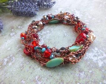Long Beaded Necklace Boho necklace Colorful necklace Hippie Necklace Festival necklace Red Turquoise Orange Beaded layering necklace