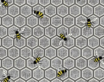 Let It Bee, Bees, Bee Fabric, Bug Fabric, Honeycomb Fabric, by Exclusively Quilters, 4110-61379