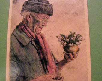 """PAUL GEISSLER Colored Etching (German,1881-1965) - 1951 or 54-""""The First Snowdrop"""""""