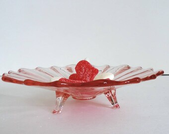 Vintage Candy Dish Pink Depression Glass