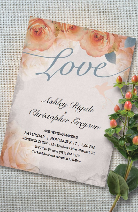Items similar to Beautiful Wedding Invitations Template in French ...