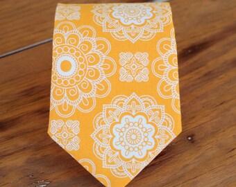 Boys orange necktie, boy's floral wedding necktie, wedding tie, ring bearer tie, baby necktie, first birthday tie, smash cake tie, toddler